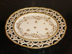 VINTAGE MOTTAHEDEH ITALY PIERCED TRAY OR DISH WITH GOLD DECORATION