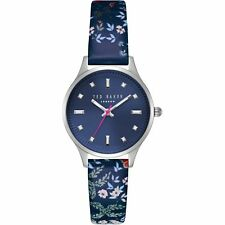 Ted Baker Women's 'zoe' Blue Dial Floral Leather Watch TE50001001