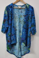Lularoe Small Lindsay Cardigan Sweater Fuzzy Textured Green Blue Floral Womens