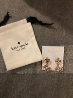 NWT Kate Spade NY Cocktails & Conversation Drop Earrings Gold crystals STATEMENT