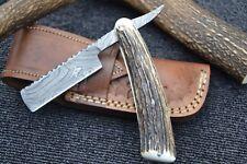 """HUNTEX Handmade Damascus 6.5"""" Deer Horn French Bladed Cut Throat Shaving Razor"""