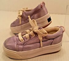 Keds Stretch PURPLE Satin Lace Up Sneaker Shoes Casual Comfy Toddler Girls 7.5M