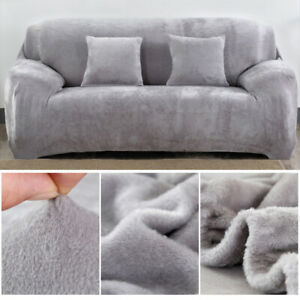 1/2/3 Seater Sofa Covers Stretch Protector Soft Couch Cover Thick Plush Velvet