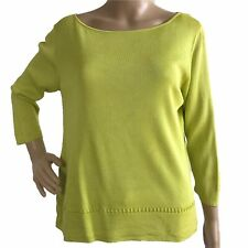 Saks Fifth Avenue Top Med Lime Green Tussah Silk 3/4 Sl Knit Fun Stitch Detail