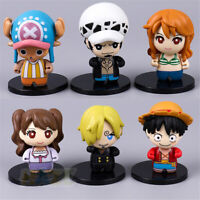 6pcs/set Anime One Piece Monkey·D·Luffy PVC Q ver Toys New Gift Figure