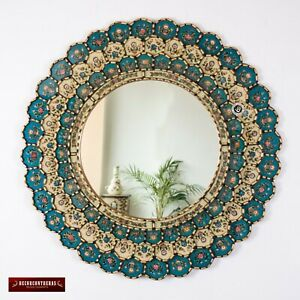 "Peruvian Round Wall Mirror 31.5"", Gold wood framed wall mirror, Bluish Turquoise"