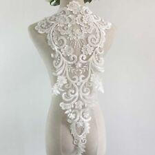 1Pcs Sequins Beaded Lace Applique Wedding Dress Bridal Lace Flower Patch Ivory