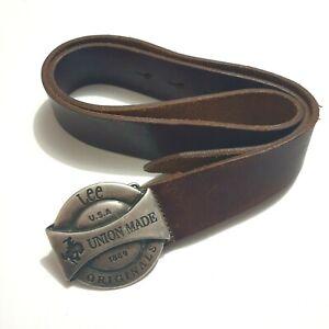 Lee Originals Leather Belt & Buckle Brown 105cm Mens Womens 7 Holes Accessories
