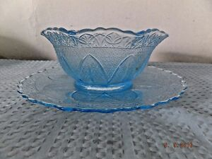 Pressed Glass Style Blue Glass Serving Bowl and Underplate Princess House