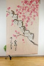 JAPANESE Noren Curtain NEW OWL BIRD FLOWER MADE IN JAPAN