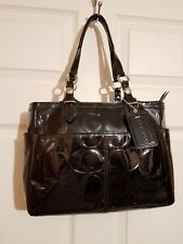 Coach Black Patent Leather Embossed Signature Shoulder Bag Style# F16564