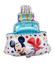 "Happy Birthday cake foil balloon blue Minnie Mickey mouse 39cm x 29cm 15"" x 11"""
