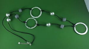 "Black Cord Silver Large Loops Silver & Grey Bead Long Lagenlook Necklace 45.5"""