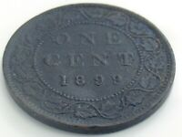 1899 Canada One 1 Cent Copper Large Penny Canadian Victoria Circulated Coin J861
