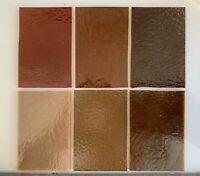 """7 Rectangles COE 90 2 & 3mm Kiln Fusing Glass Supplies 2"""" x 3"""" 6 shades of Brown"""