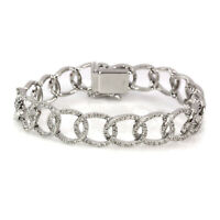 2 ctw Natural Diamond Solid 14k White Gold Wide Link Chain Bridal Bracelet 7 In