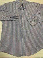 Vtg Mens- LL BEAN - Button Down Shirt Blue Pink Stripe Size 16-1/2 32 MADE USA