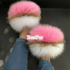 Women's Slides Real Fox Fur Slippers Furry Sandals Flat Indoor Outdoor Shoes