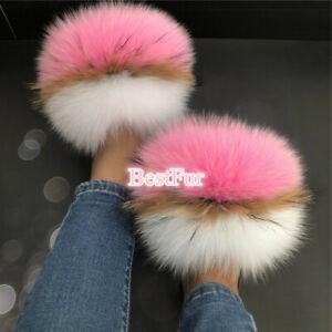 Women's Slides Real Fox Fur Slippers Furry Sandals Flat Indoor Outdoor Shoes