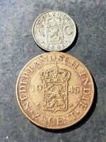 1945 NETHERLANDS EAST INDIES INDONESIA  2 1/2 CENTIMES + 1941 1/4 G SILVER COIN