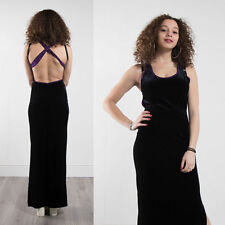 VINTAGE 90'S PURPLE SEQUIN BLACK VELVET MAXI DRESS FITTED BODY CON GLAM 10