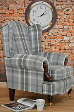 Wing Back/Queen Anne/ Balmoral Dove Grey Tartan Fireside Chair. VIP RANGE!!!