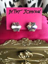 Betsey Johnson Snow Angel Vintage Crystal AB Snowflake SIGNED Stud Earrings