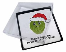 4x Christmas Grumpy Sprout Picture Table Coasters Set in Gift Box, Sprout1C