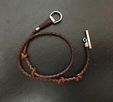 Bracciale GUCCI pelle marrone argento 925 bracelet horsebit morsetto silver