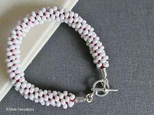 Rojo y blanco abalorios pulsera de moda de semilla de Kumihimo-Elija su propio color del hilo de rosca