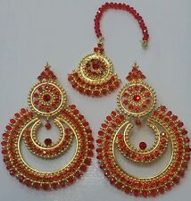 New Elegant  red manjoos Earrings and tikka  in gold and pearl