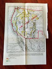 1888 West US Map Precious Metal Regions Location of Gold Silver Cinnabar Lands