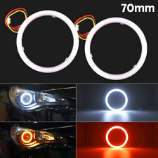 2pcs COB LED Angel Eyes Halo Ring Fog Lamp Light w/Turn Signal Red Amber 70mm