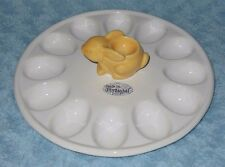 Portugal Olfaire Deviled Egg Plate with Yellow Bunny Egg Cup Center NWT