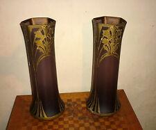 paire de vase Art Nouveau violet  pâte de verre émaillée genre legras