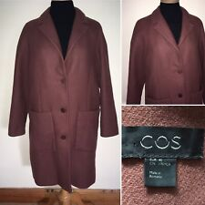 Womens Cos Cocoon A-Line Burgundy Wool Blend Coat EU 40 UK 14