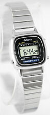Casio Ladies Black Digital Classic Vintage Silver Steel Band Watch LA670WA-1 New