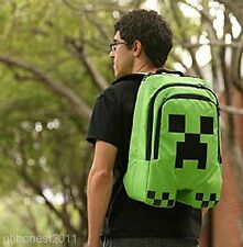 Hot Minecraft Backpack School Bag Boys Green Creeper Waterproof FREE BELT HANGER
