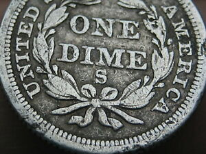 1856 S Seated Liberty Silver Dime- Rare San Francisco, Fine Details