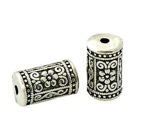 5 Antiqued Silver 17x10mm Cylinder Column Tube Flower Steel 2mm Hole Focal Beads