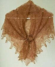 RUSSIAN ORENBURG LACE KNITTED SHAWL SCARF (PASHMINA) COLOR WARM BROWN