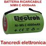Batteria NI-MH 1/2 Mezza Torcia 1,2V 4000mAh 50x26mm saldare pacco batteria