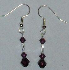 Swarovski Crystal Amethyst Bicones February Birthstone Earrings~ Handcrafted