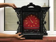 Handmade Traditional Wood Craving Window Wall Clock With Red Velvet Cloth Nepal