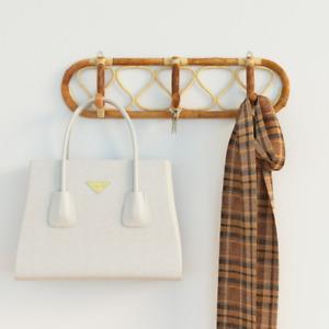 Handmade Rattan Coat Hook Hanger Pegs for Hallway Bedroom Bathroom