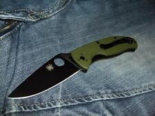 Couteau Spyderco Tenacious Green G-10 Black Plain Lame Acier 8Cr13MoV SC122GPBGR