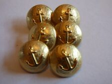 6 x 17mm Vintage Gold Nautical Anchor Mushroom Shank Jacket Blazer Buttons