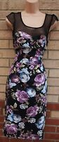 G21 BLACK PURPLE BLUE FLORAL ROSES SPOTTY MESH BODYCON PENCIL TUBE DRESS 8 S