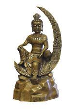 Chinese Fine Bronze Metal Moon Sitting Kwan Yin Buddha Statue cs2427