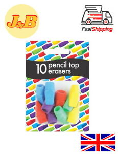 Pencil Top Erasers Rubbers Caps Tips Triangular Assorted Colours - Pack of 10